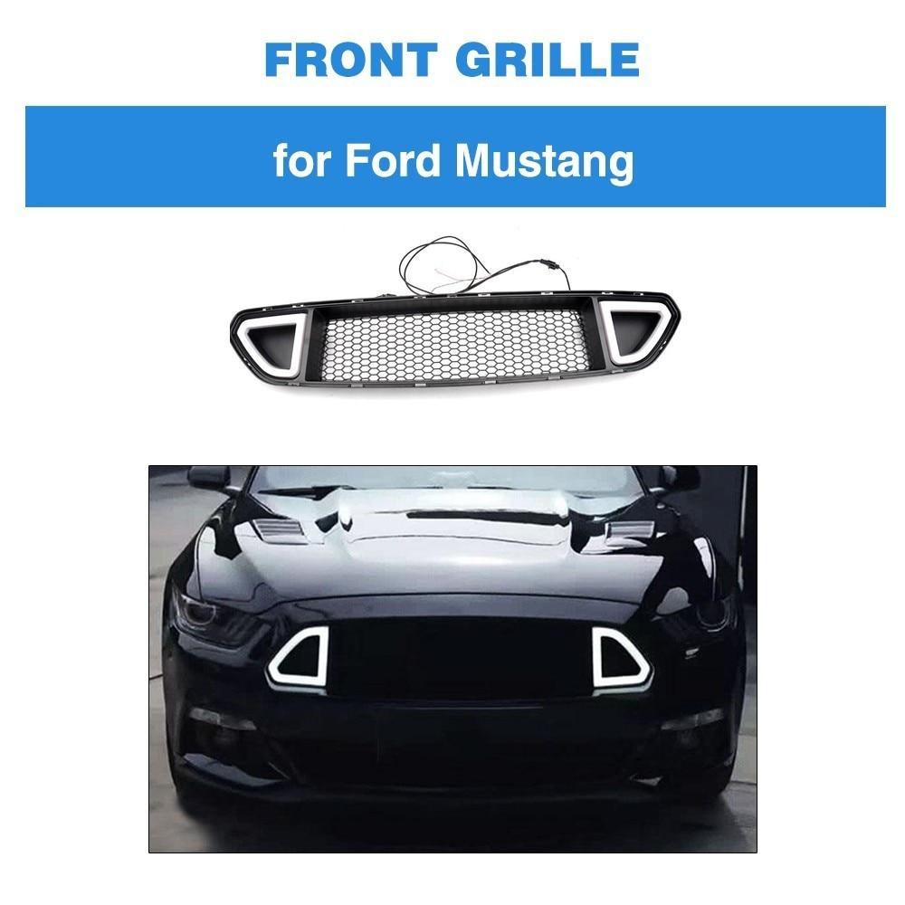 Abs Front Mash Grille Voor Ford Mustang 2015-2017 Grille Zwart Matte Met Licht Zacht En Licht