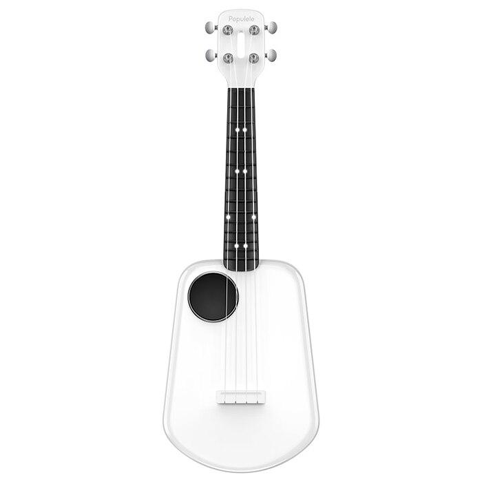 Populele 2 LED Bluetooth USB ukulélé intelligent ukulélé Concert 4 cordes 23 pouces guitare électrique acoustique blanche