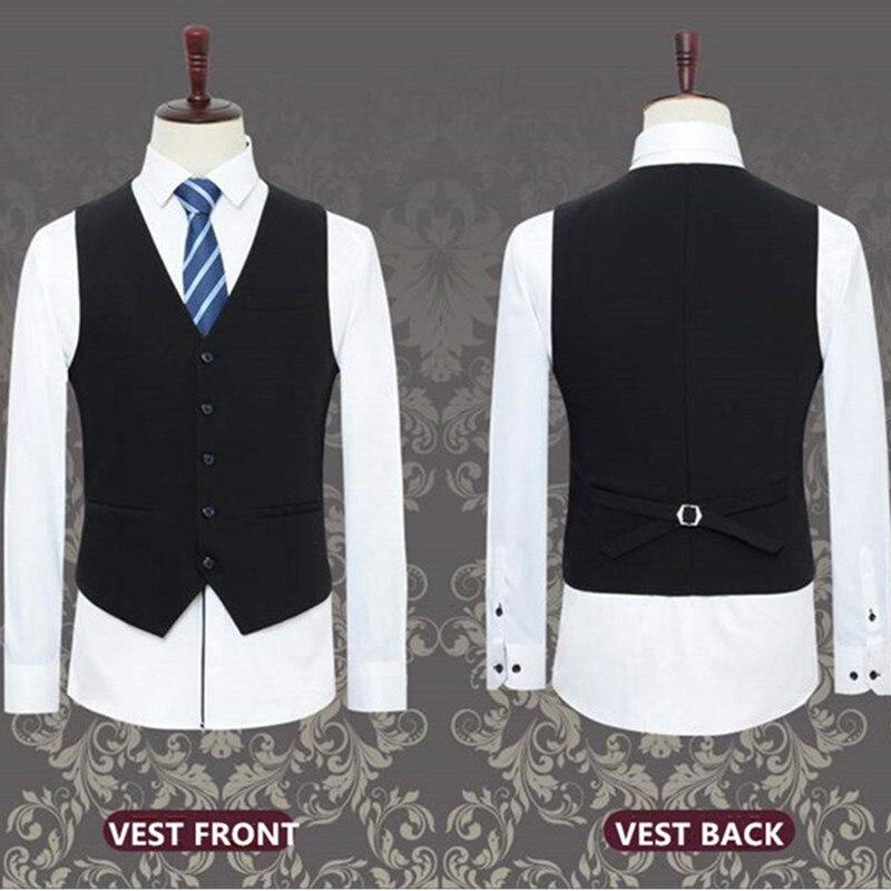 Мужской костюм из 3 предметов Свадебный костюм с брюками жениха размера плюс 5XL 6XL 7XL 8XL 9XL Terno черный синий формальный деловой комплект одежды - 6