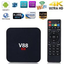 лучшая цена V88 4K Android 7.1 Smart TV Box RK3229 Quad Core 1GB+8GB 1080P Set-top Box