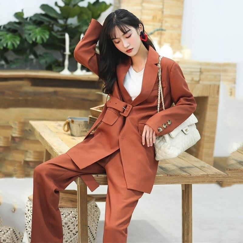 Pantalon À 2019 Costume Orange Ceintures Coréen Pièces Manteau Définit Mode Manches Haute Blazer Femme Taille Twotwinstyle Deux De Longues Revers Femmes Long TYwqxgZUSU