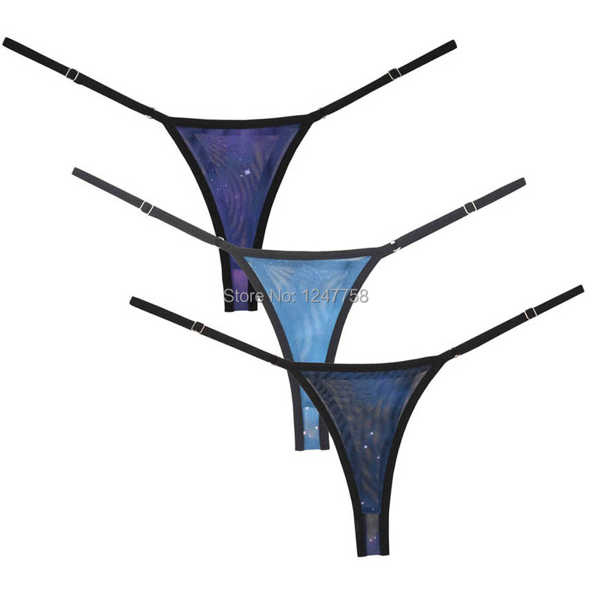 Women Underwear Adjustable Intimates String Tangas Women <font><b>Sexy</b></font> Bikini Thong Starry Sky Mesh T-back <font><b>Sous</b></font> <font><b>Vetement</b></font> <font><b>Femme</b></font> <font><b>Sexy</b></font> image