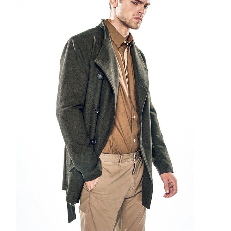 Suit Overcoat Pocket-Trench Men's Double-Breasted Hot Fashion Solid Stylish With Winter