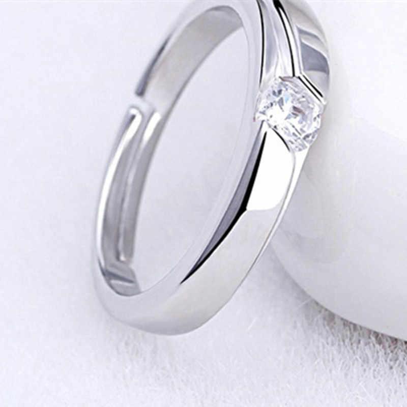 น่ารักเงินสีปรับคริสตัล Rhinestone แหวนคู่สำหรับคนรักผู้หญิงผู้ชายแหวนงานแต่งงานอุปกรณ์เสริม 925 แกะสลัก