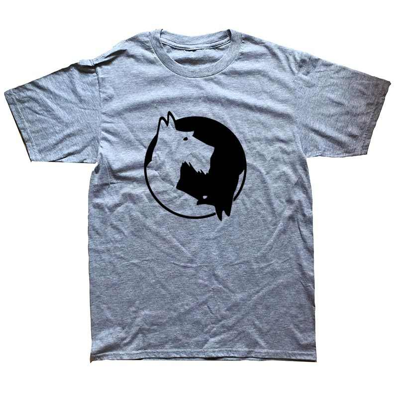 Инь и Ян шнауцер собака футболка Тай Чи дизайн хлопок футболка хип хоп Уличная Мужская любимая животное футболка унисекс