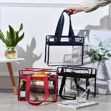 Fashion Clear Transparent Tote Bag PVC Transparent Cosmetic Bags Beach Bag Shopping Bags Cases