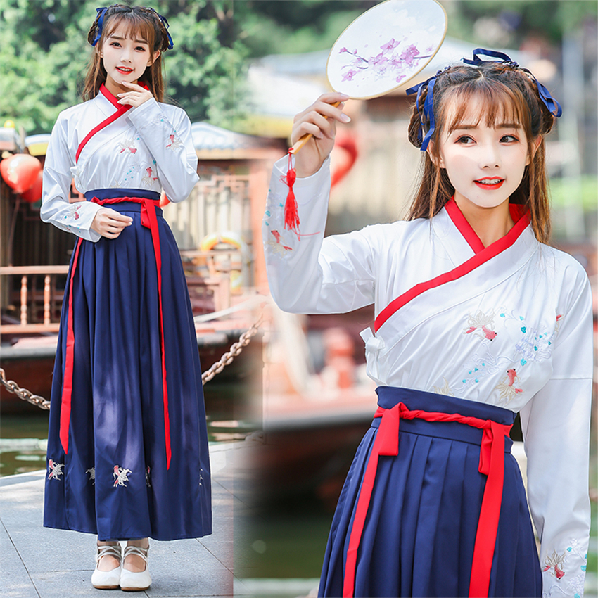 New 2019 Women Traditional Chinese Clothing Festival Outfit Dance Costume Embroidery Tang Suit Ancient Costumes Top+Dress