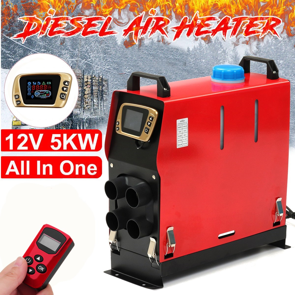 5KW 12V Detachable Diesel Air Heater All-in-One Fuel Air Parking Heater with Golden LCD Switch and English remote control for Truck Motor Boat Trailer