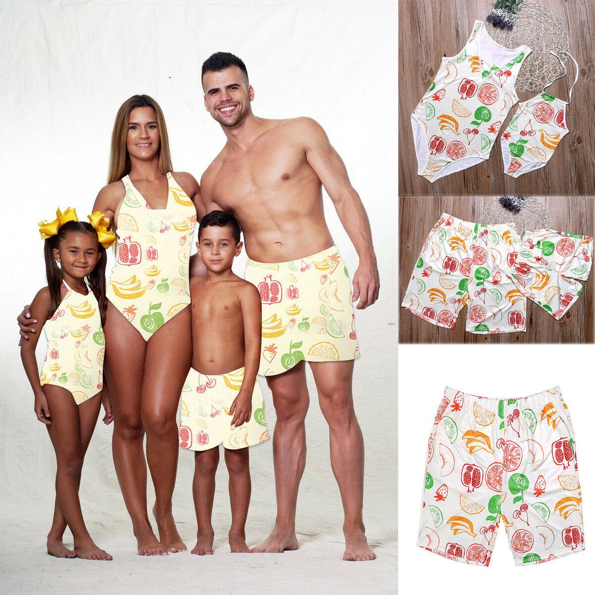 Family Matching Swimsuit Mother Girls One Piece Swimsuit Father Boys Shorts Swimwear Bikini Sets Fruit Print
