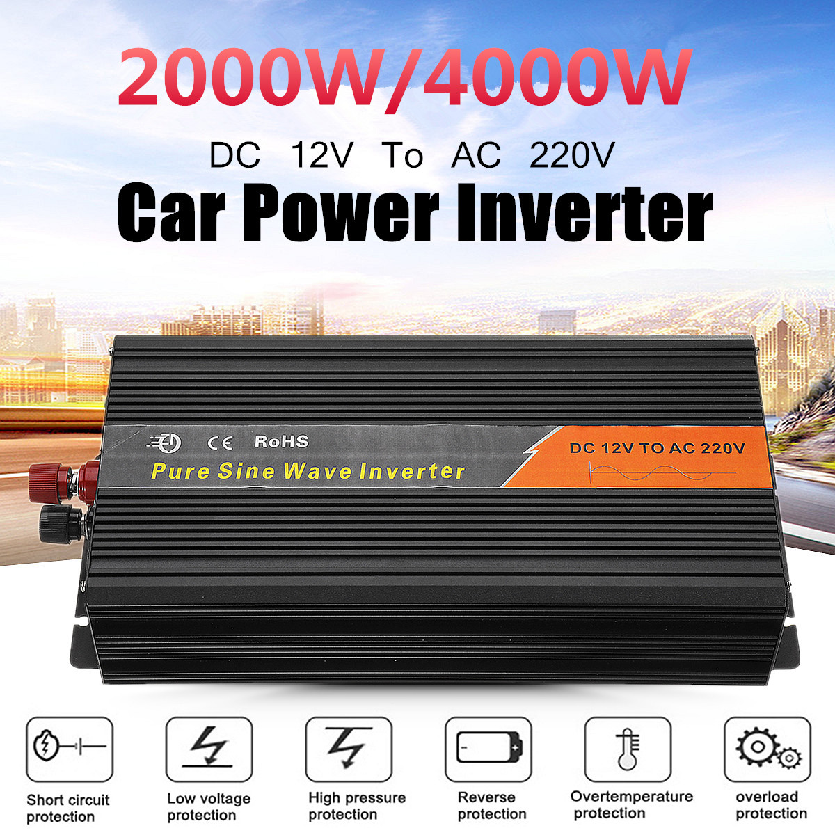 High Power Tbe Auto Car Pure Sine Wave Inverter 1000w Dc12v Circuit Diagram 2017 2018 Best Cars 2000 4000w Dc 12v To Ac 220v Charger Converter