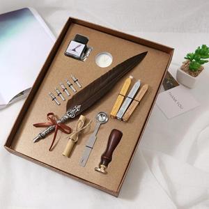 Image 1 - 1 takım Vintage kaligrafi tüy divit kalem yazma mürekkep seti kırtasiye hediye kutusu 5 Nib düğün hediye Quill kalem çeşme kalemler yeni