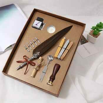 1set Vintage Calligraphy Feather Dip Pen Writing Ink Set Stationery Gift Box with 5 Nib Wedding Gift Quill Pen Fountain Pens New - DISCOUNT ITEM  25 OFF Education & Office Supplies