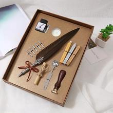 Juego de pluma de caligrafía Vintage pluma Dip, tinta de escritura, caja de regalo de papelería con 5 plumín, regalo de boda, pluma estilográfica