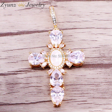 5PCS ZYZ328 1984 Gold Color White Shell Cross Shape Pendant Simple Style Womens Fashion Jewelry