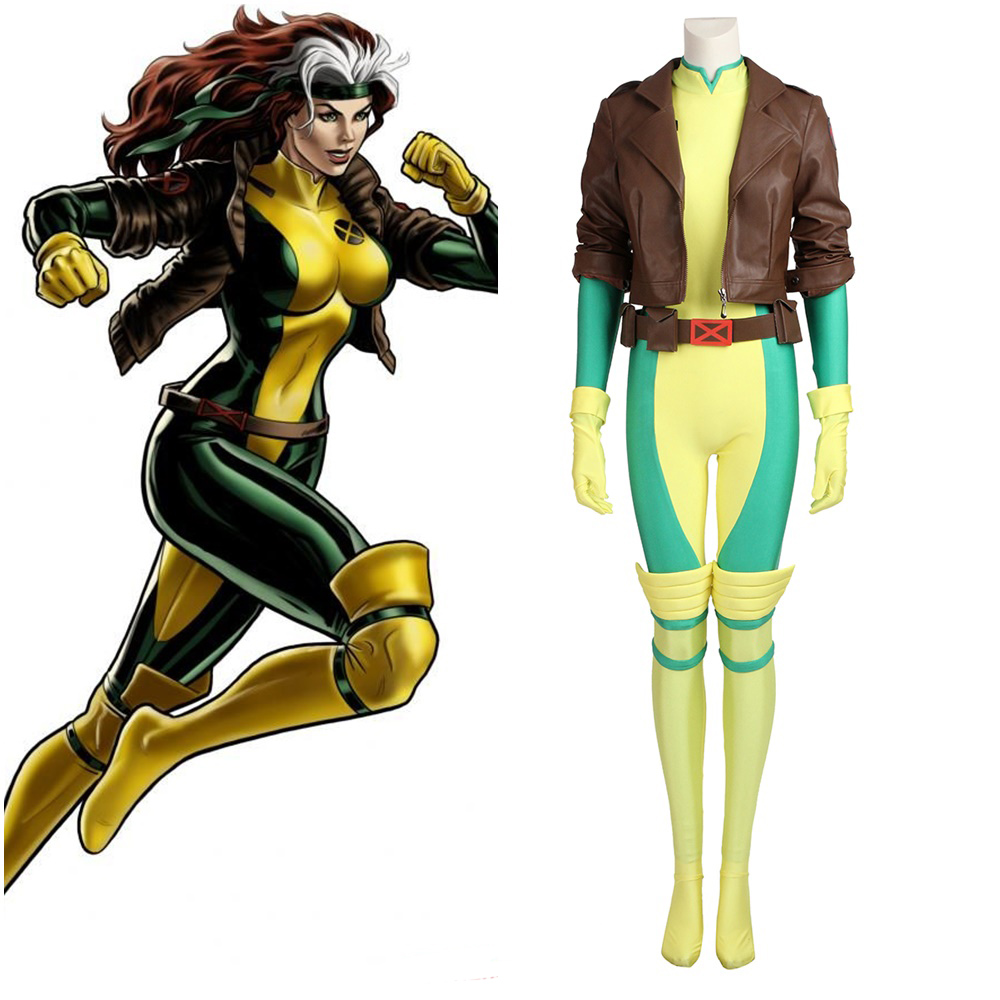 New X-Men Anna Marie Rogue Cosplay Costume Hallween Outfit