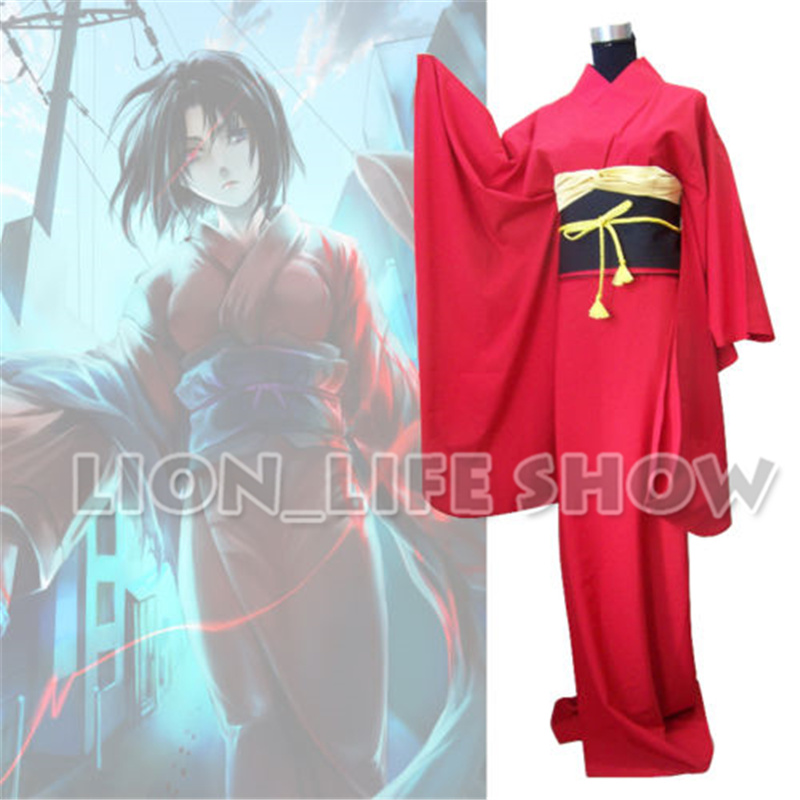 Japon traditionnel femmes Ryougi Shiki rouge Furisode Kimono Cosplay Costume ensemble