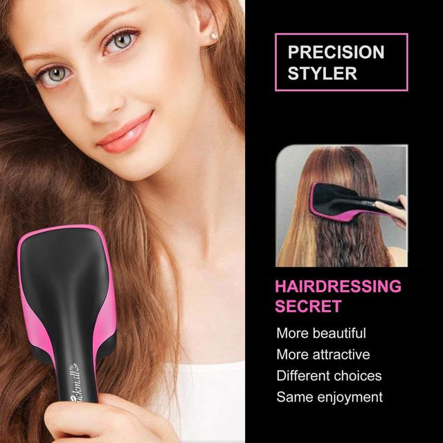 Hot Air Brush, One Step Hair Dryer Styler Hair Air Brush Negative Ion Hair Straightener for All Hair Type US Plug
