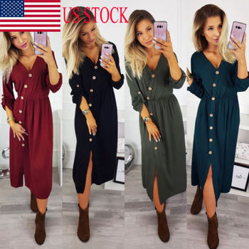 Women Casual Long Sleeve Maxi Dress Ladies Loose Long Tops Shirt Dresses Ladies Button Knitted Chic Dresses Female jeans con blazer mujer