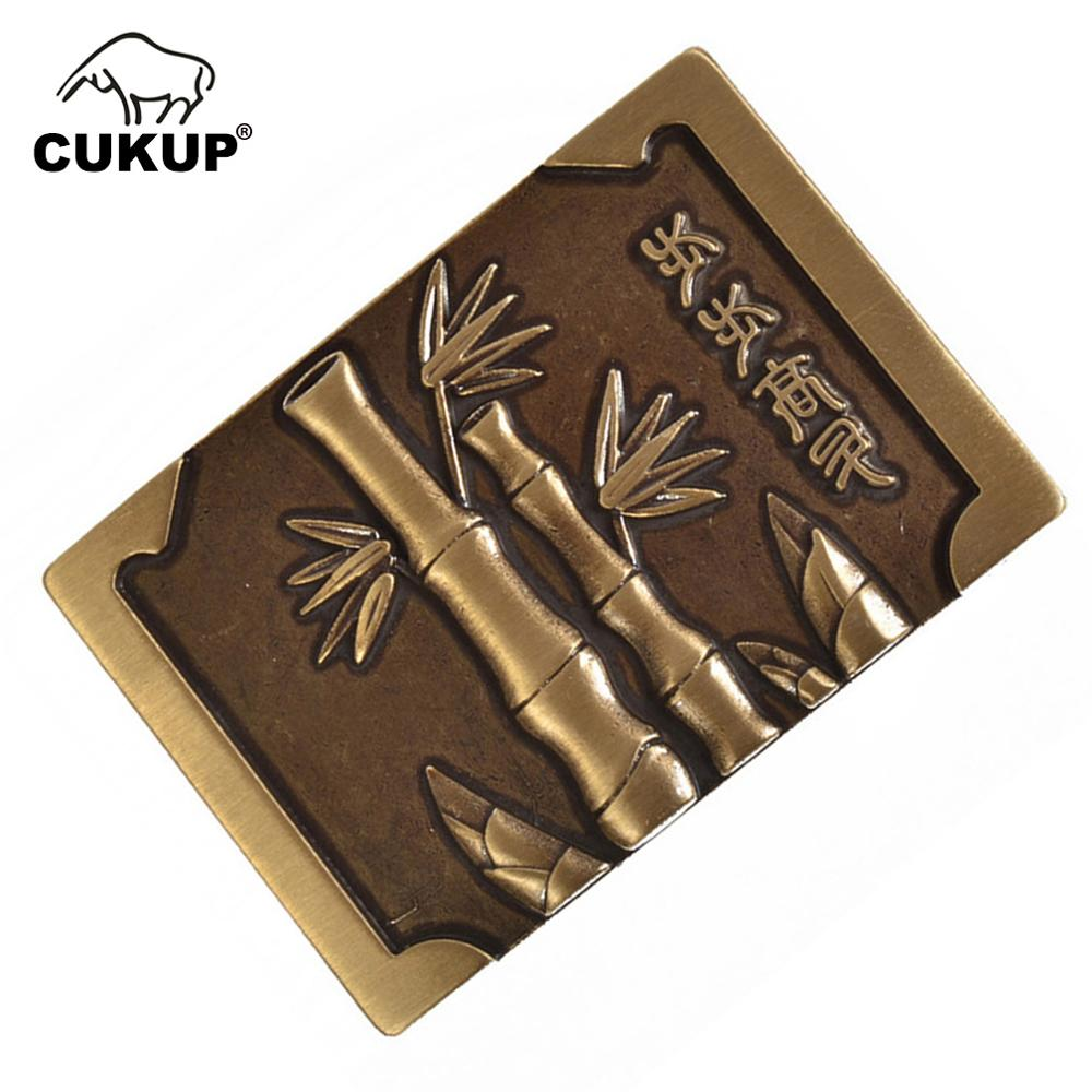CUKUP Mens New Unique Design Bamboo Pattern Male Chinese Styles Smooth Gold Man Belt Buckles Solid Brass Metal For Men BRK049