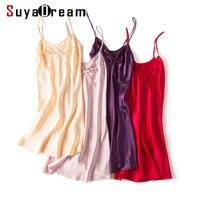 Women Silk Sleepdress 19MM 100%REAL SILK Spaghetti Strap Mini Length Sleep dresses 2019 New Silk Sleepwear