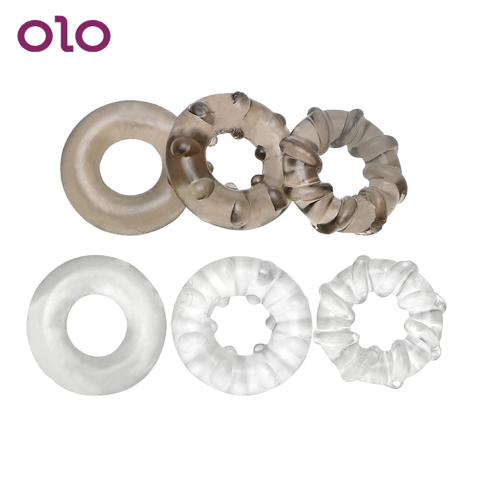 OLO 3Pcs/set Elastic Cock Ring Delay Ejaculation Penis Ring Sex Toys For Men Adult Sex Products