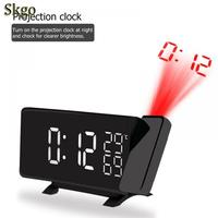 New Projection Alarm Clock Digital Date Snooze Function Color LED FM Radio Alarm Projection Clock With Time Projection Projector