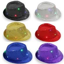 Fedora Trilby Light Up Cowboy Jazz Cap Sequin Falshing Hat flat eaves(China) 7a652b7adcc8