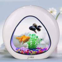 Creative Desktop Fish Tank Aquarium Small Ornamental Goldfish Tank Ecological Acrylic Fish Tank With LED Light