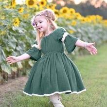 Новинка года; модное очаровательное винтажное платье принцессы с короткими рукавами для маленьких девочек; сезон весна-лето-осень; платье одежда наряд