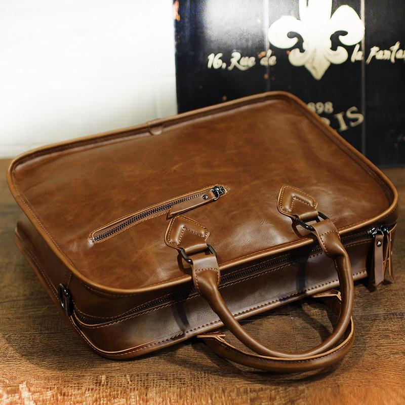 New Fashion Crazy Horse Leather Men Briefcase Vintage 14 Inch Big Business Laptop Handbag Fashion Brown Messenger Shoulder Man