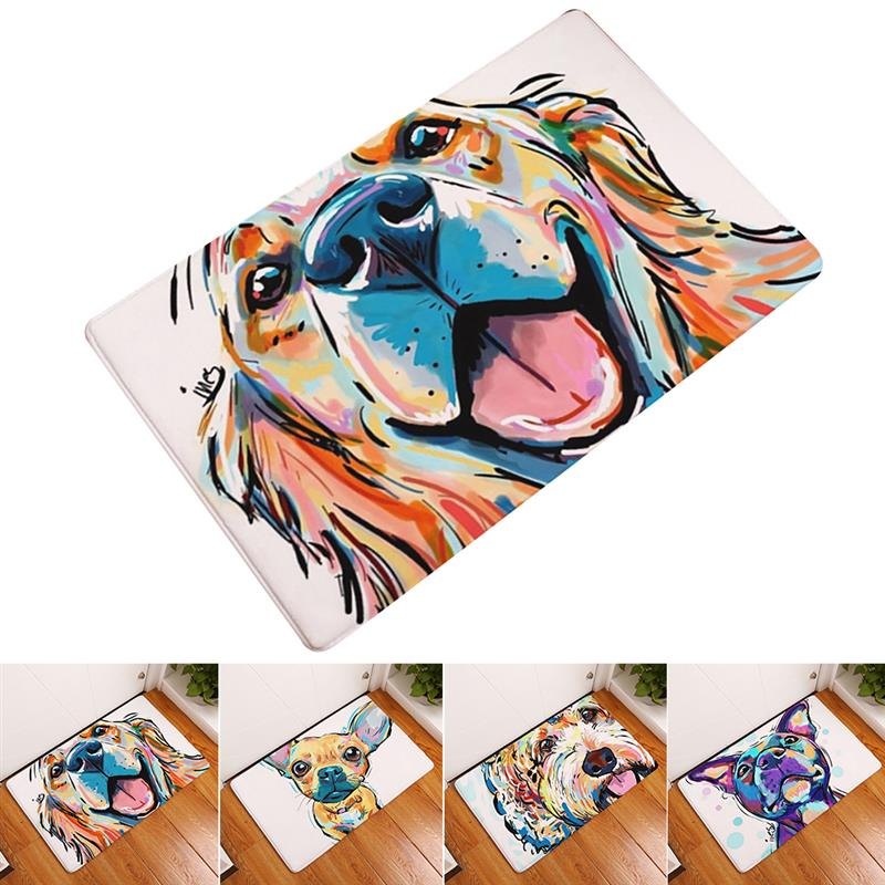 Home Bedroom Livingroom Kitchen Rugs Anti Slip Mats Colorful Dog Animal Pattern Carpets Waterproof Hallway Light Carpets
