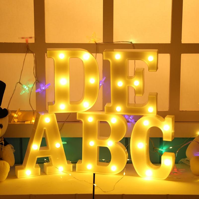 Plastic Led Light 26 Letter Night Light Alphabet Marquee Sign Lights Indoor Hanging Wall Lamp Romantic Atmosphere Lighting