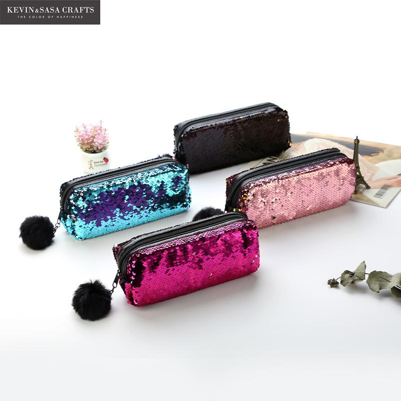 New Reversible Sequin Pencil Case For Girls School Supplies Super Big School Bts Stationery Gift Magic Pencil Box Pencilcase