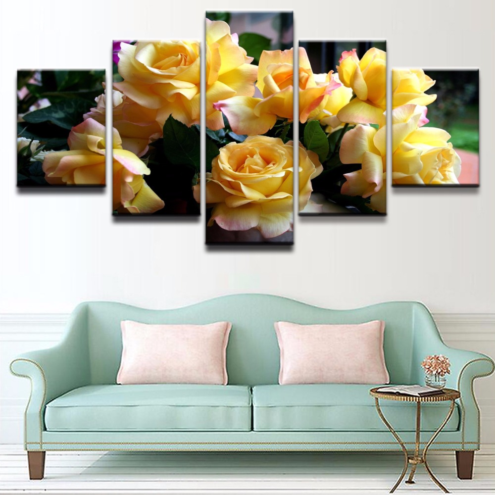 5 Pieces HD Print Painting Yellow Rose Flower Posters Modular For Modern Decorative Bedroom Living Room Home Wall Art Decor in Painting Calligraphy from Home Garden