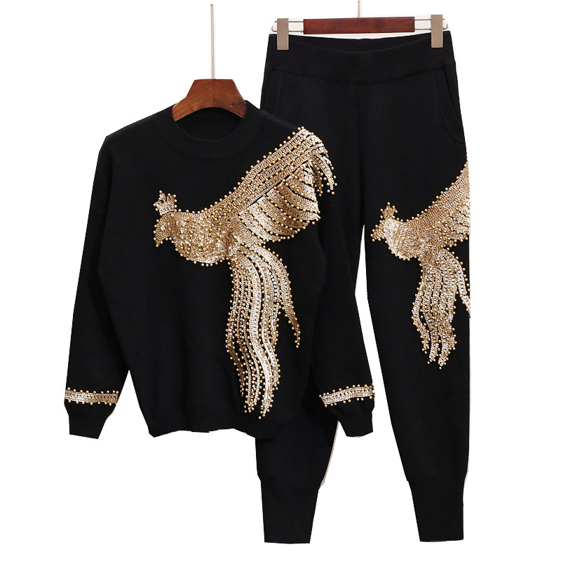 LANMREM 2019 New Fashion Sequined Beaded Long Sleeve Loose Knitting Tops And Casual Pant Female s