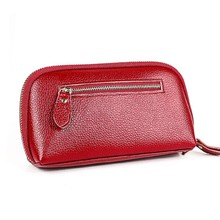 Купить с кэшбэком New Genuine Leather Wallet Women Wallets Money Purses Coin Pocket Long Zipper Clutch Bags Phone Bag Card Holder Cartera Mujer