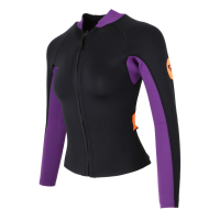 Performance 3mm Neoprene Women Wetsuit Jacket Top Front Zip Long Sleeve Coat for Scuba Diving Snorkeling & Swimming