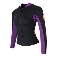 Performance 3mm Neoprene Women Wetsuit Jacket Top Front Zip Long Sleeve Coat for Scuba Diving Snorkeling & Swimming