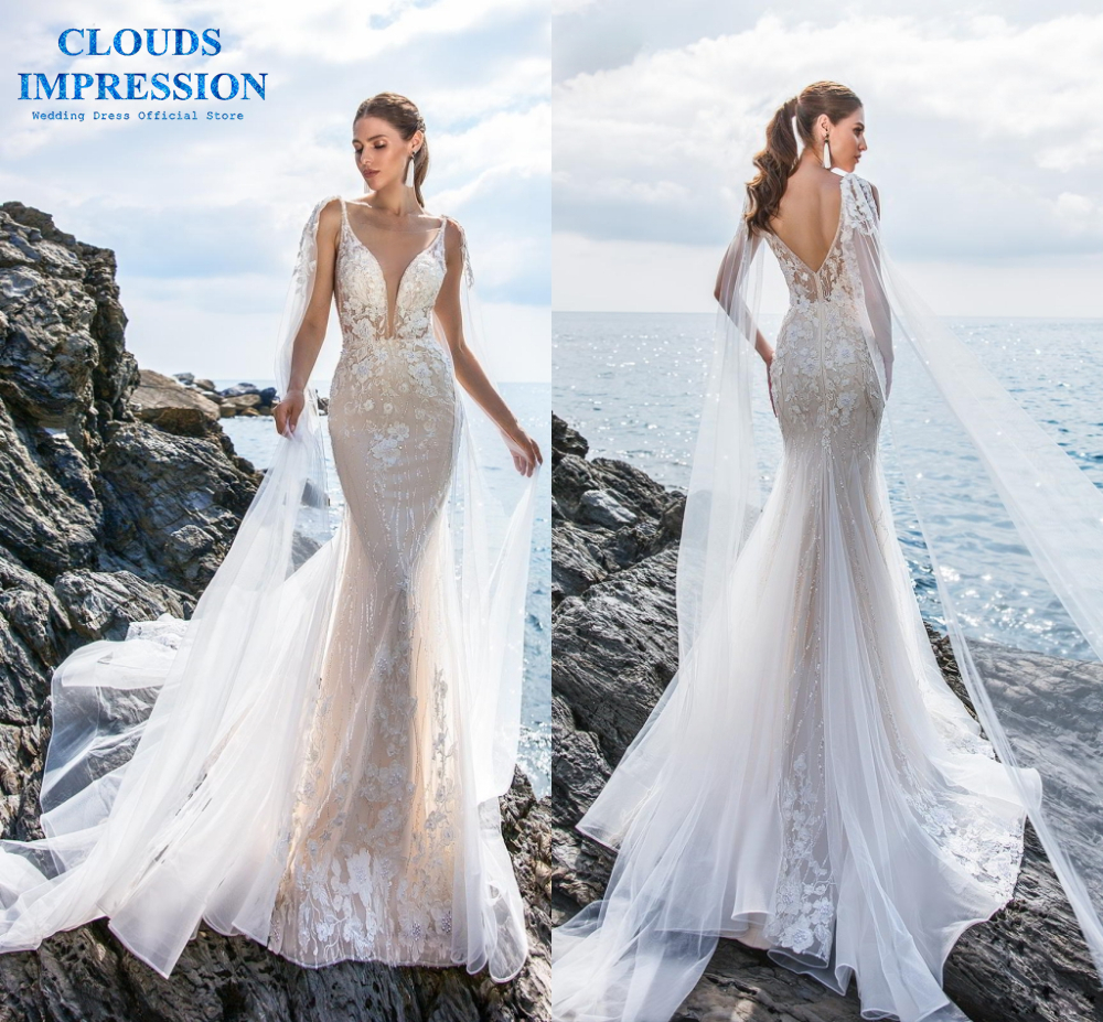 CLOUDS IMPRESSION Sexy Backless Deep V neck Mermaid Wedding Dress 2019 Lace Beading Appliques Bridal Gowns