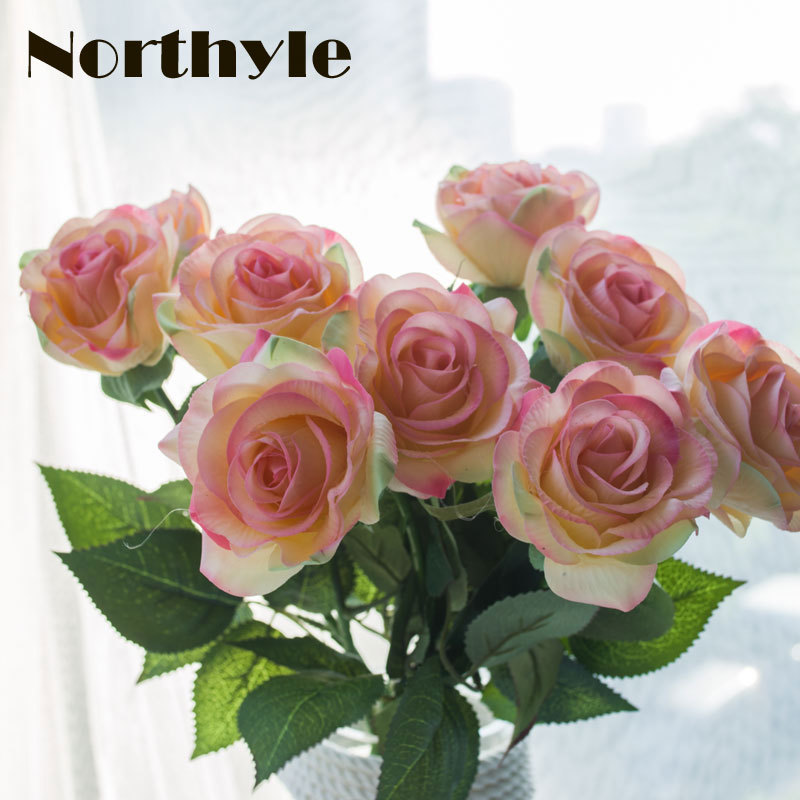 Original DH dream house FS112628 artificial real touch rose flowers home decoration fake flower wedding decoration  9pcs / lot fake rose flowers