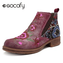 Women Shoes Socofy Vintage Flower Embroidery Zipper Genuine-Leather Ankle Splicing Botas-Mujer