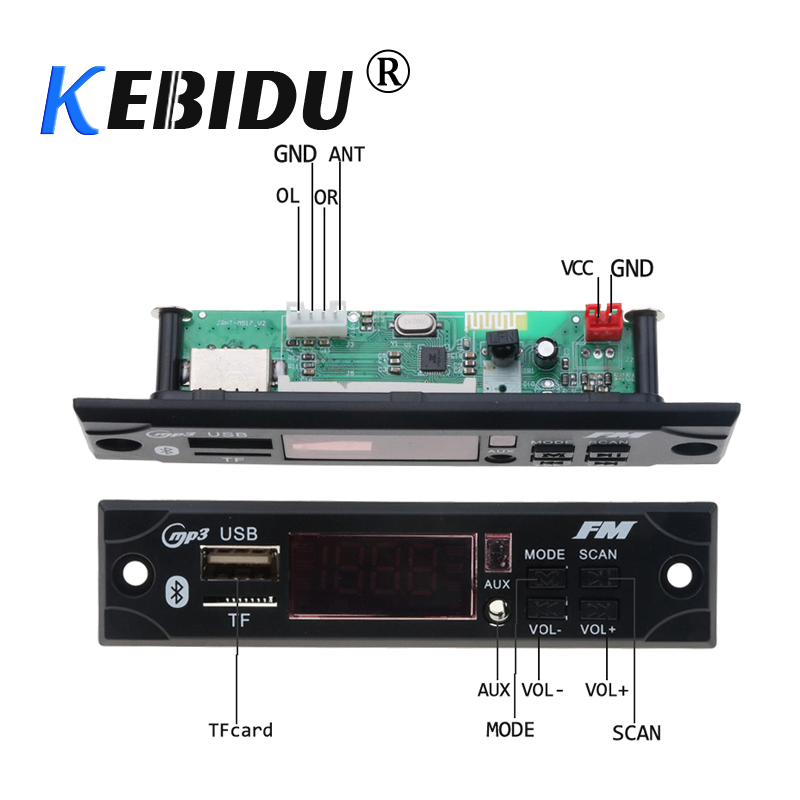 Kebidu Wireless Bluetooth Decoder Board Module MP3 WMA WAV AUX 3.5MM Car Audio MP3 Player USB TF FM Decoder Board With Remote