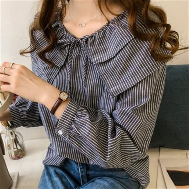 2019 Womens Plus Size Peter Pan Collar Tops And Blouses Ladies Casual Bowknot Long Sleeve Oversized Striped Shirts Blusas Mujer 10