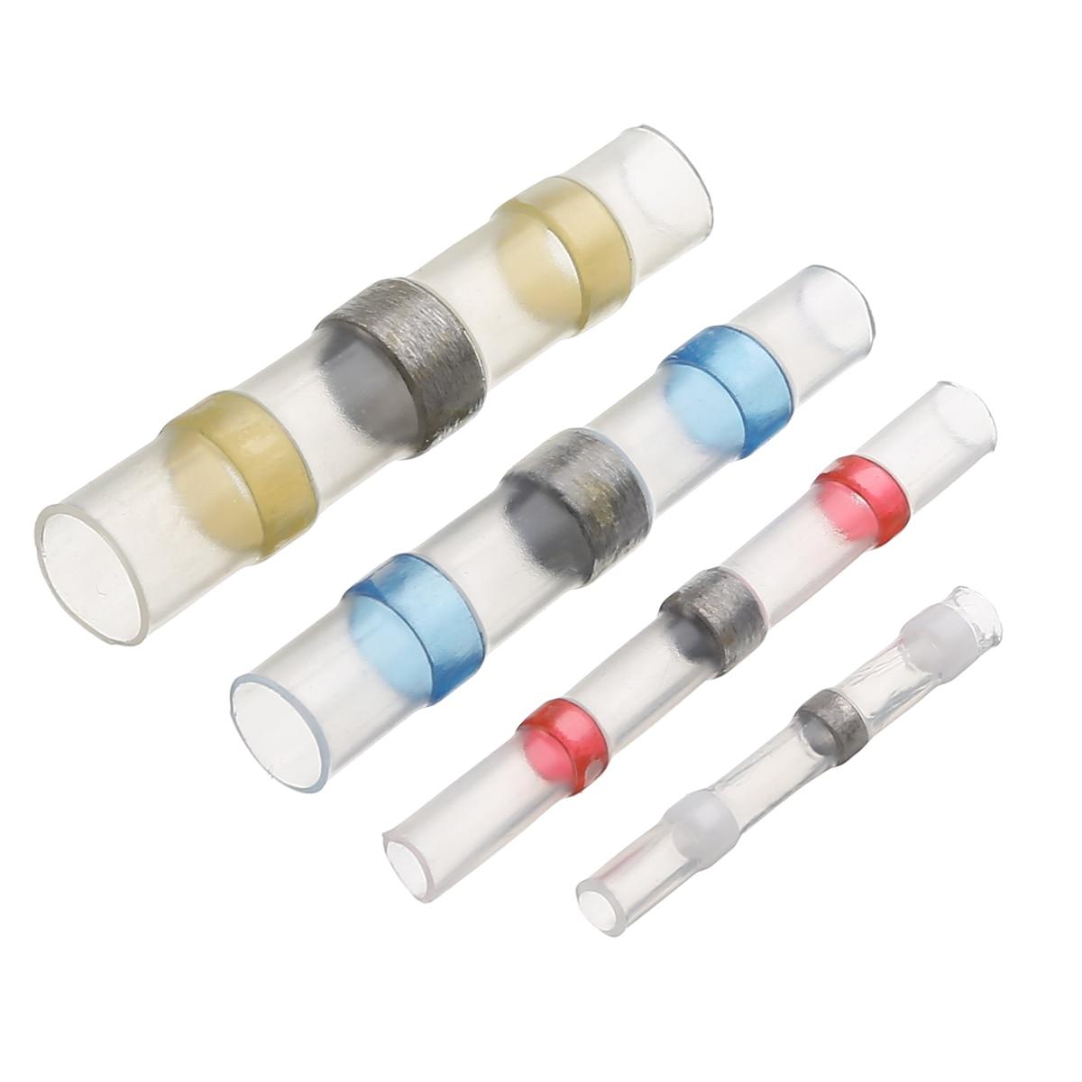 Juego de tubos unids de manga de soldadura a prueba de agua de 100 piezas conectores de empalme de cables de tope de termorretráctil AWG 26-10