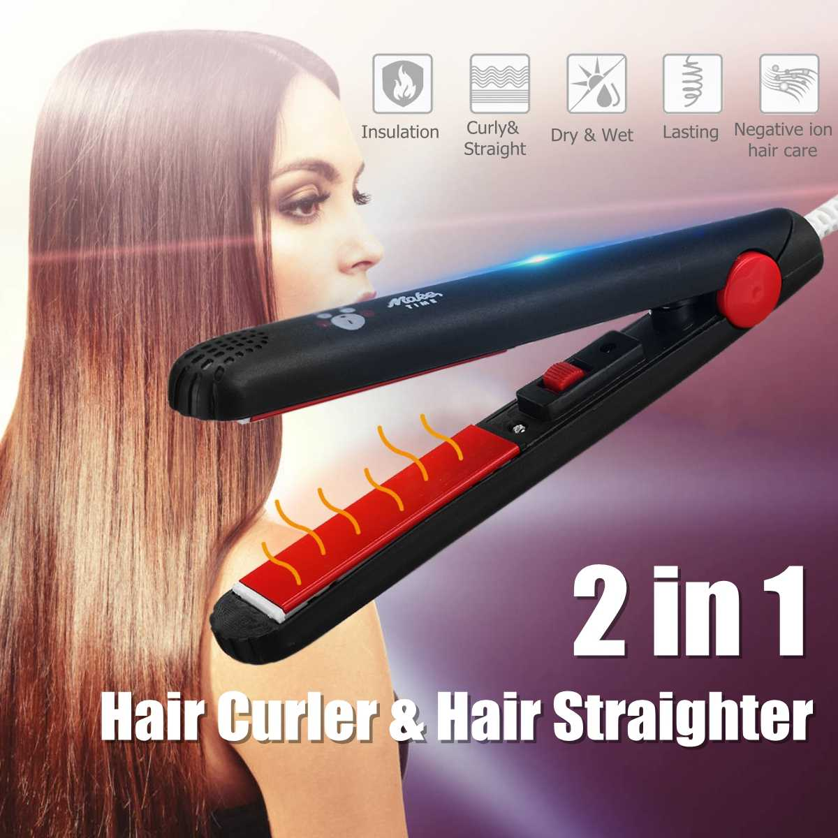 220V Mini Ceramic Electronic Hair Straightener Curling Iron