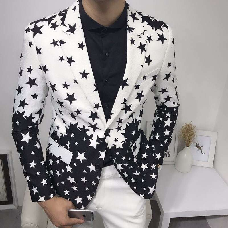 Star Print Slim Fit Suit Jacket 2019 Brand New Male Club Stage Blazer Man Formal Wedding Suit Prom Blazers For Men Costume Homme 1