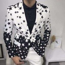 Nadruk gwiazdy dopasowany przylegający garnitur kurtka 2019 Brand New mężczyzna klub etap Blazer człowiek formalne garnitur weselny marynarki na studniówkę na kostium męski Homme