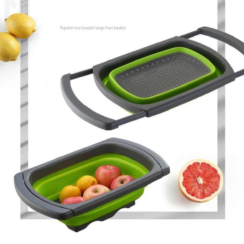 Vegetable Washing Foldable Strainer Basket  Collapsible Silicone   Colander Square Over The Sink With Handle Fruit Kitchen Tool