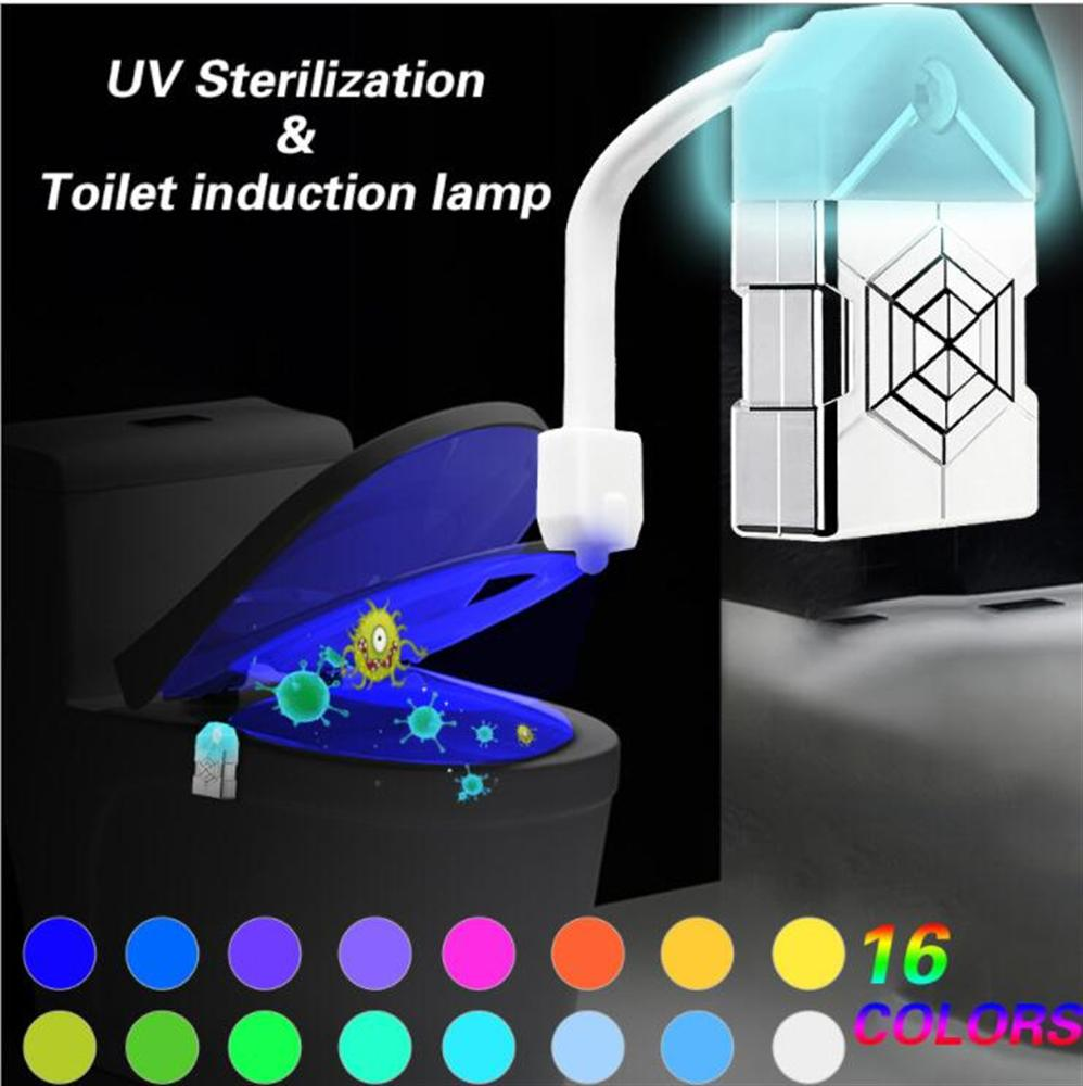 8 Colors Led Toilet Light Motion Sensor Light Bathroom Night Lights Dusk To Dawn Battery-operated Lamp With Uv Sterilizer Carefully Selected Materials Led Lamps