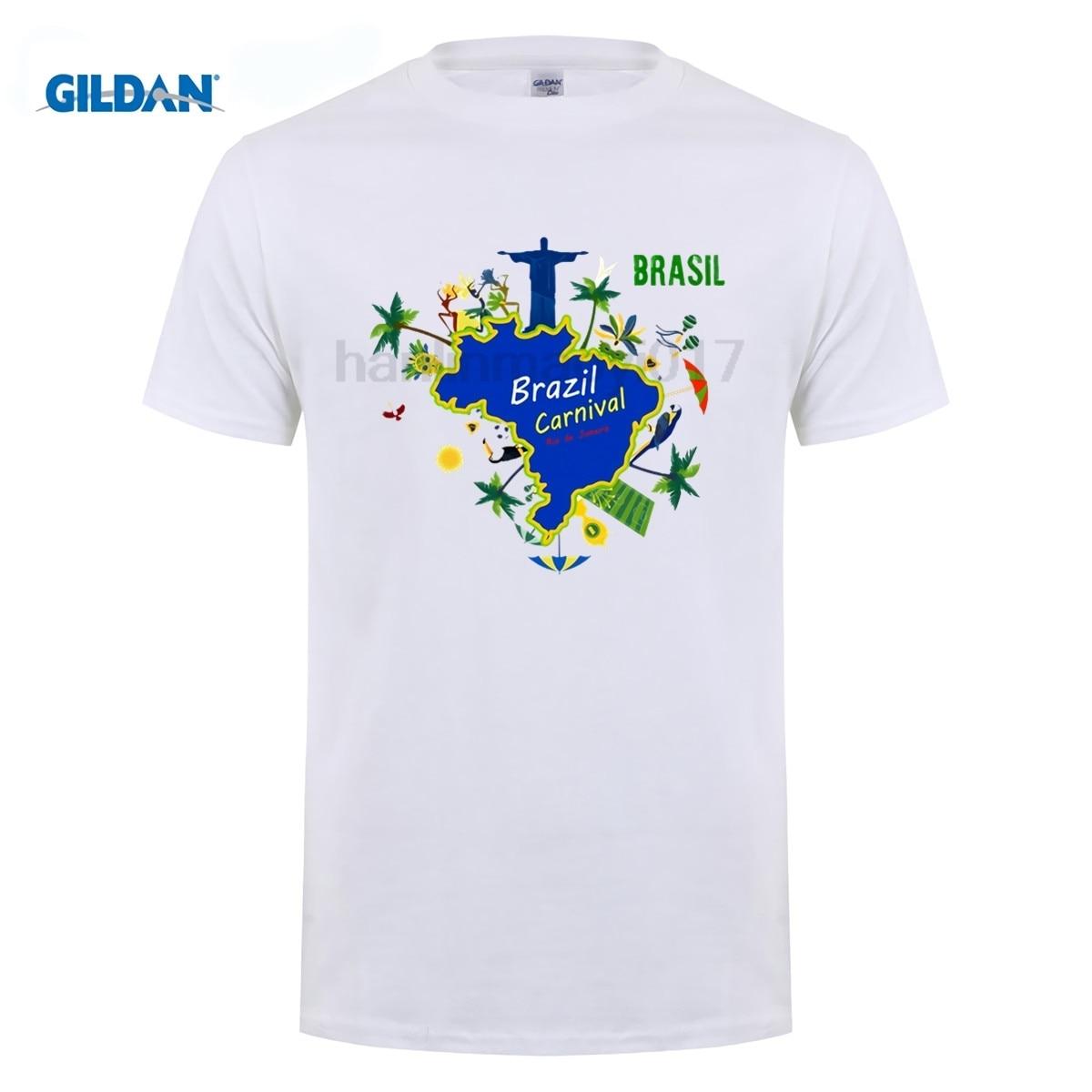 GILDAN Beach Style T-shirts Man  Tree Fashion Round Neck Fitness Tshirts Funny Brazil T shirt Men